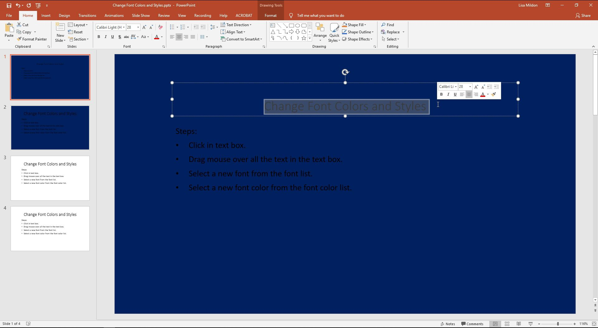 PowerPoint with highlighted text and a font selection box showing.