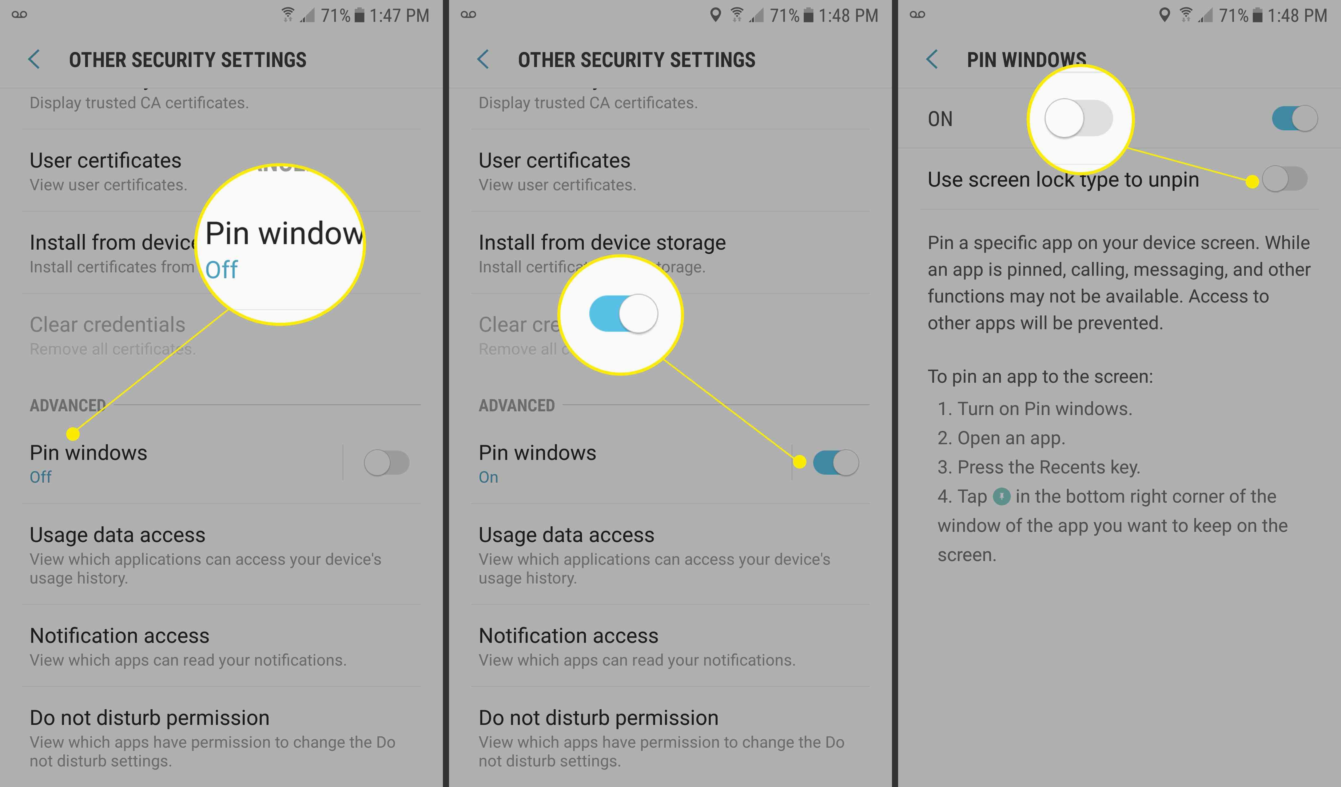Screenshots of navigation to Pin Windows settings.