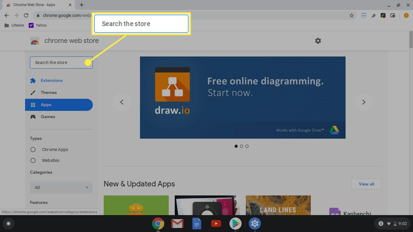 The search bar in the Chrome web store
