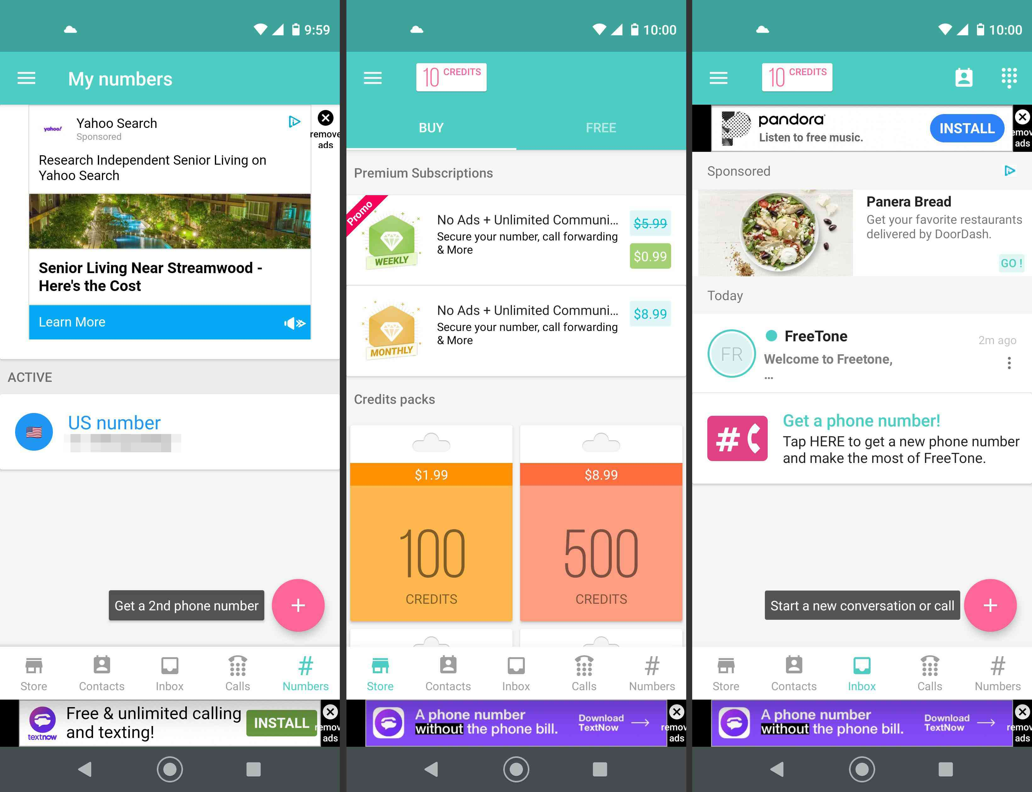 FreeTone's numbers, store, and inbox screens on Android