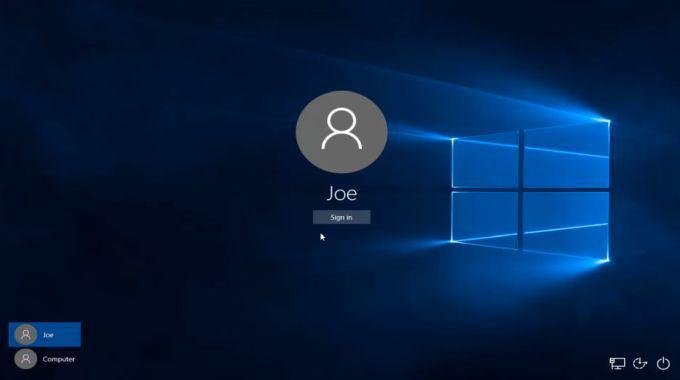 Screenshot of Windows Login Screen