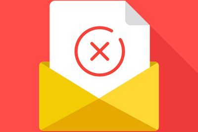 Letter with red x on it representing failed email