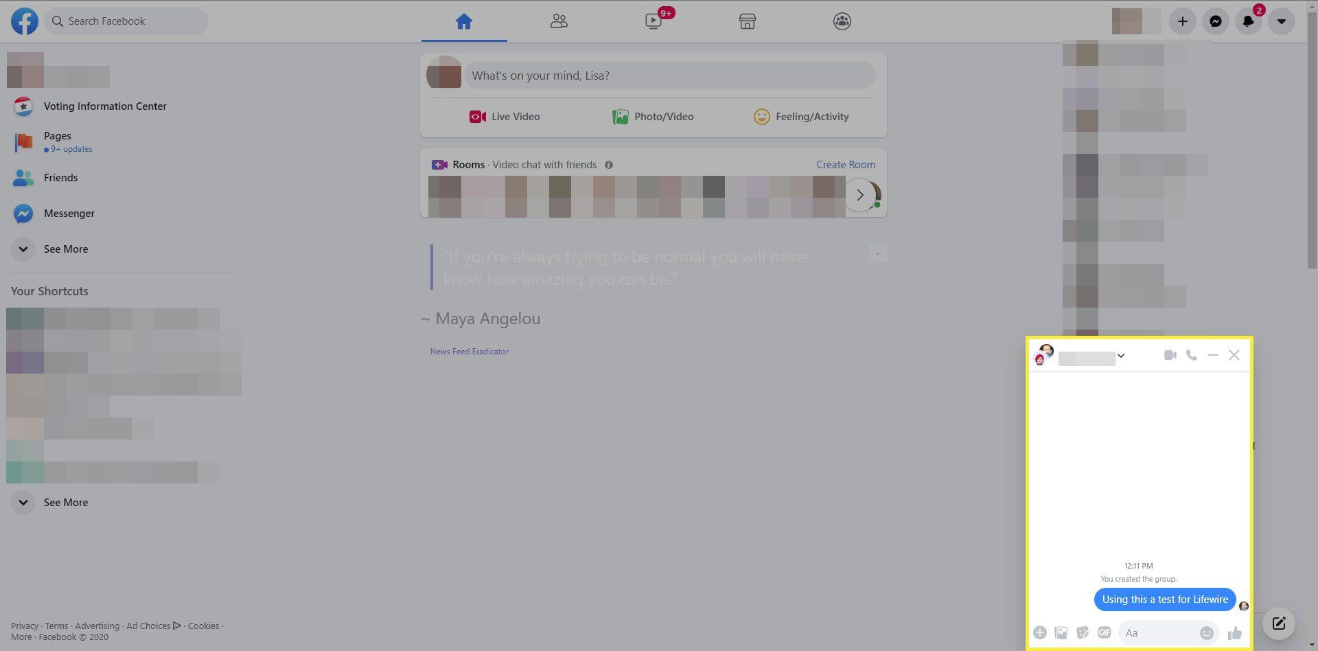 Facebook Messenger in a browser.