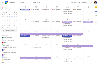 Highlighted events in Google Calendar