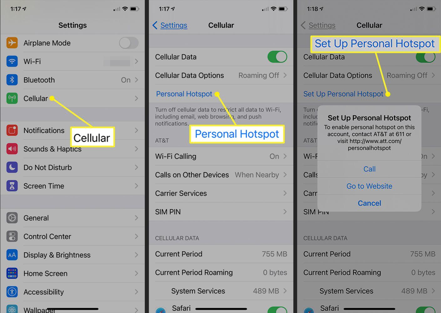 iPhone Personal Hotspot settings