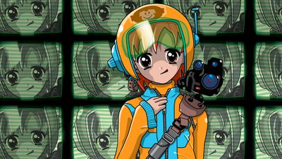 Drawing of an anime girl standing in front of a wall of TV screens.