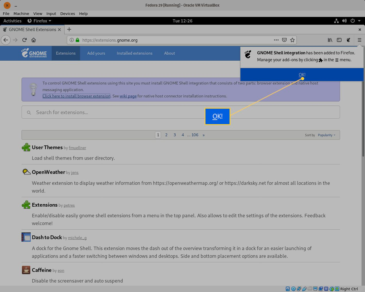 Browser extension installation in Firefox.