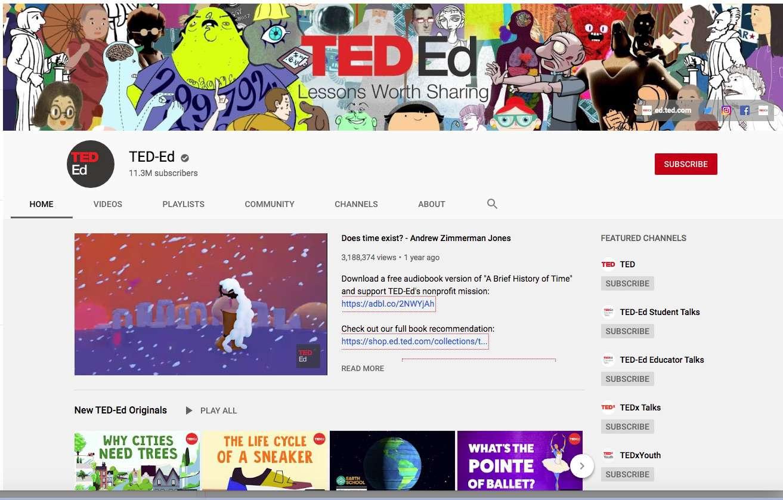 Trang chủ kênh YouTube của TED-Ed