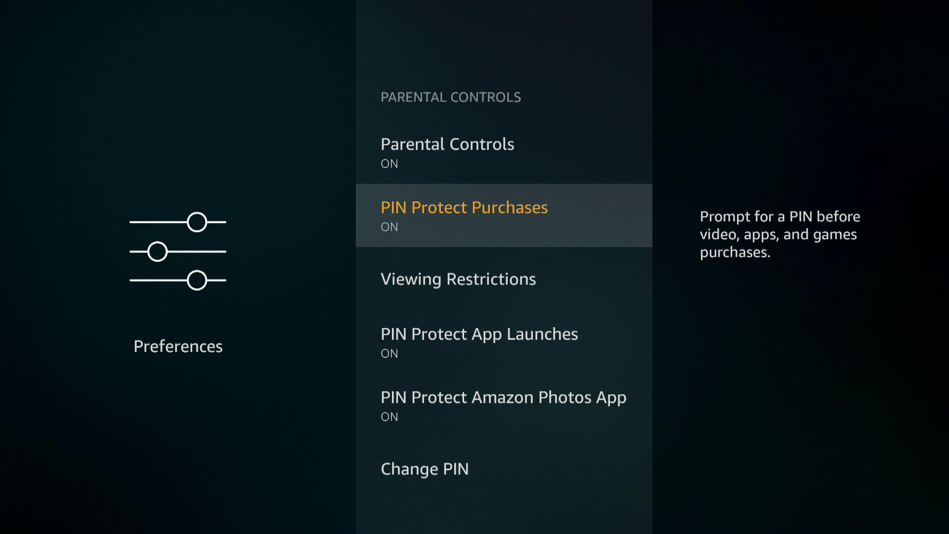 A screenshot of parental controls on a Firestick.