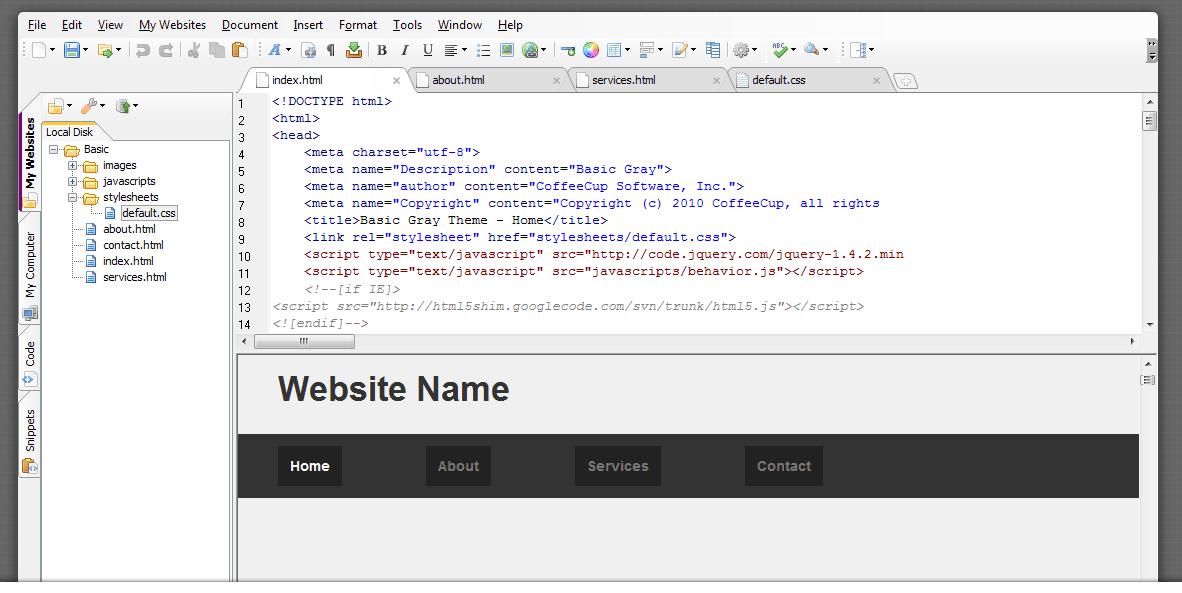 CoffeeCup Free HTML Editor