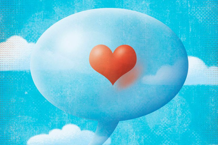 A red heart in a thought balloon in the clouds, illustration