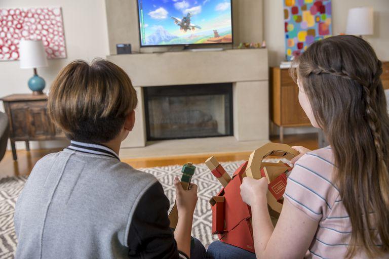 Two children play Nintendo Labo