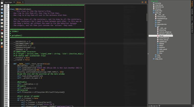 Screenshot of IDE editor