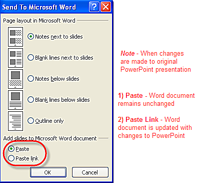 Reduce file size when converting powerpoint to word handouts options for word handouts when converting from a powerpoint presentation toneelgroepblik Images