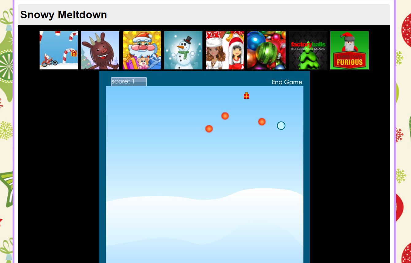 A screenshot of the game Snowy Meltdown