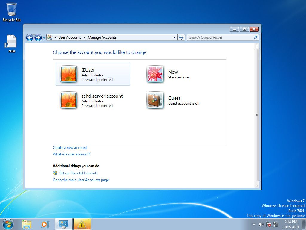 Windows 7 Manage Accounts with new account added