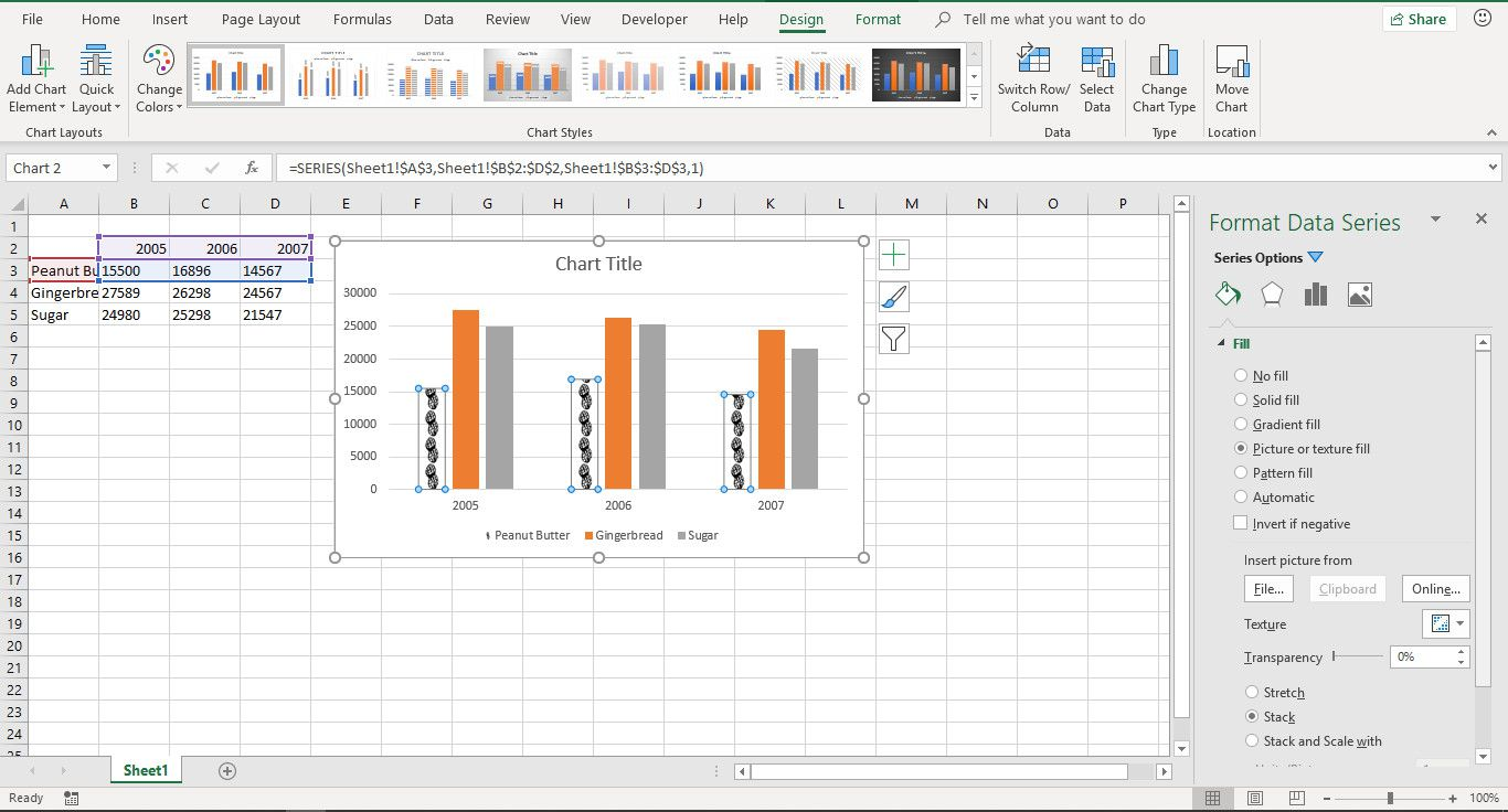 A screenshot showing how to add images to a chart to create a pictograph