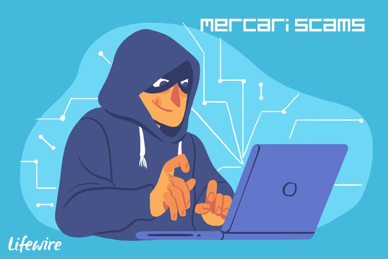 A conceptual illustration of a Mercari scammer.