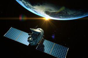 Communications satellite in orbit around Earth
