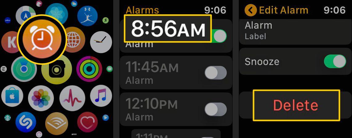 Alarm icon, Alarm to delete, Delete button on Apple Watch