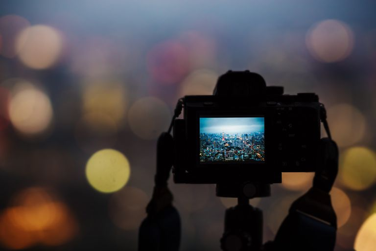 Tokyo, Japan. Tokyo tower as seen from a camera screen with bokeh background