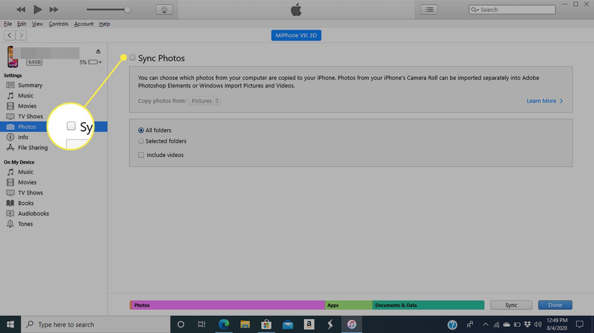 The Sync Photos command
