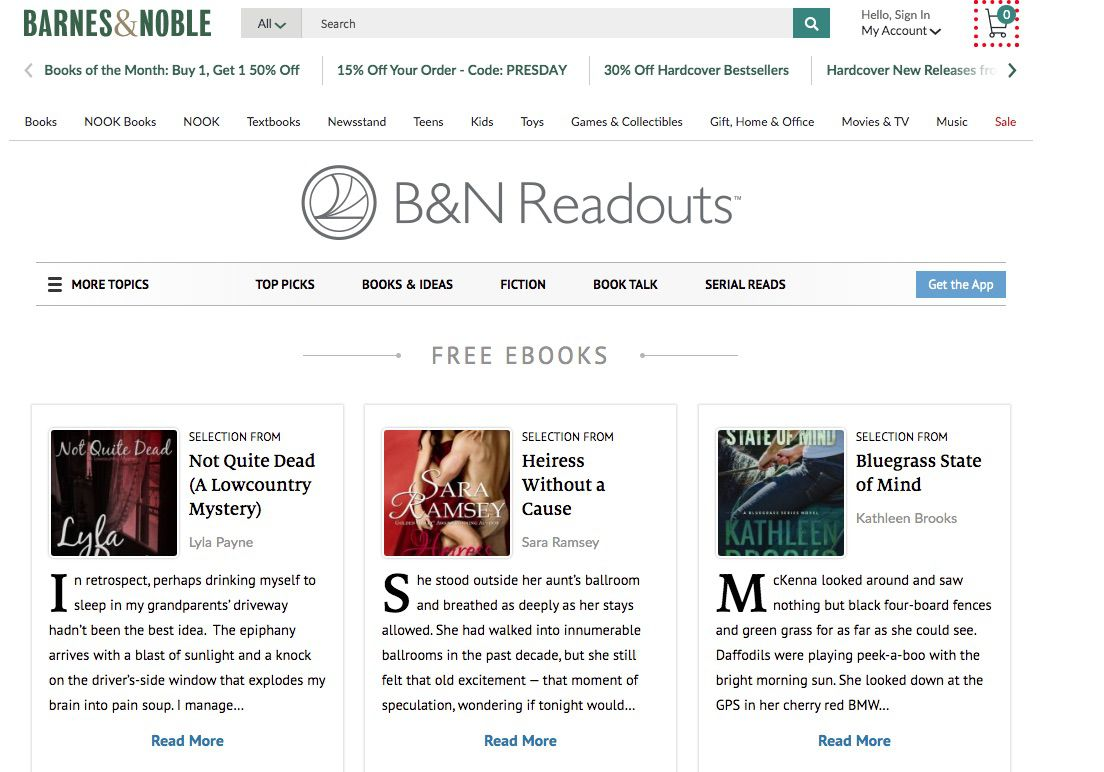 Screenshot of B&N Readouts, which offers free Nook eBooks