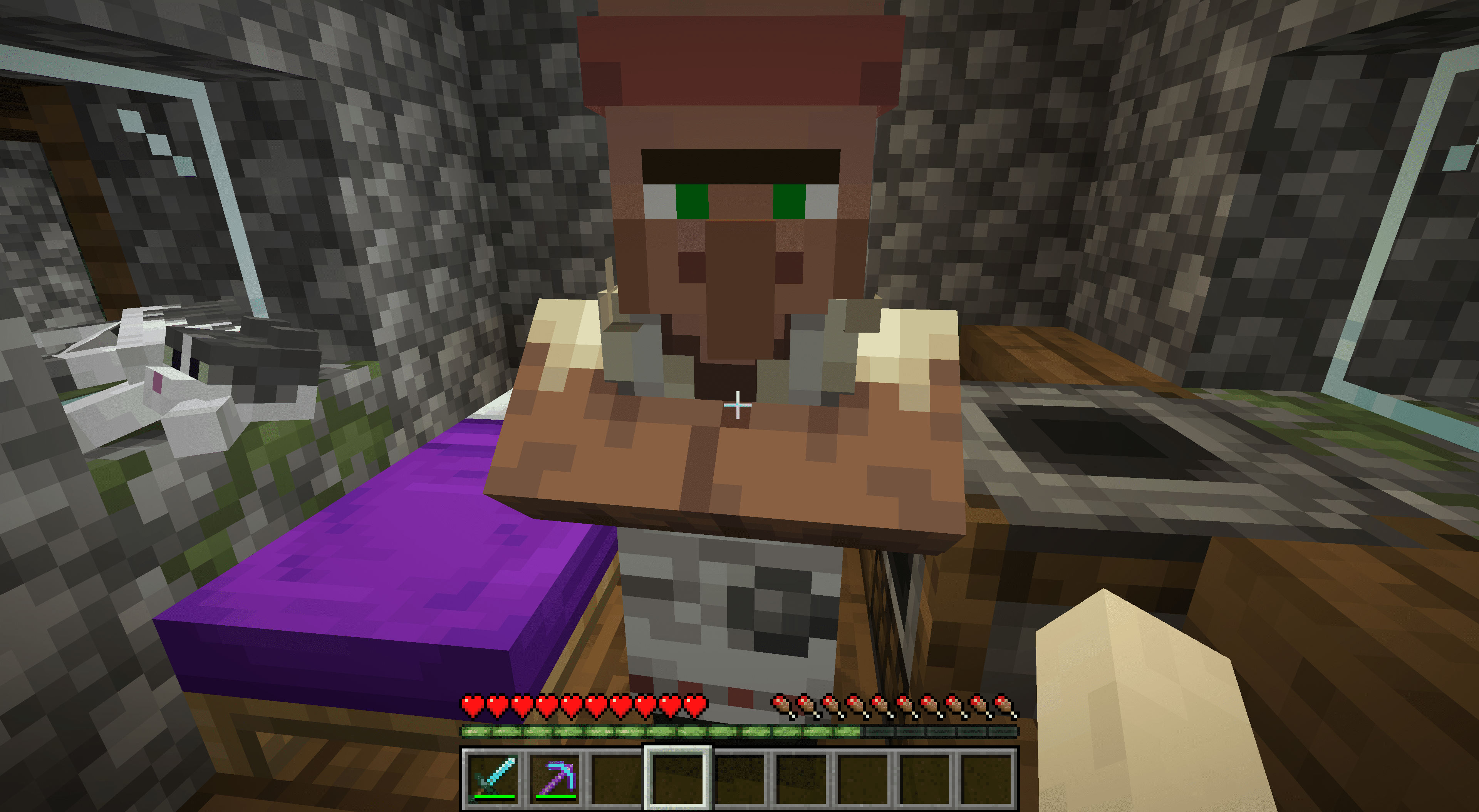 A butcher NPC in Minecraft with his smoker behind him.
