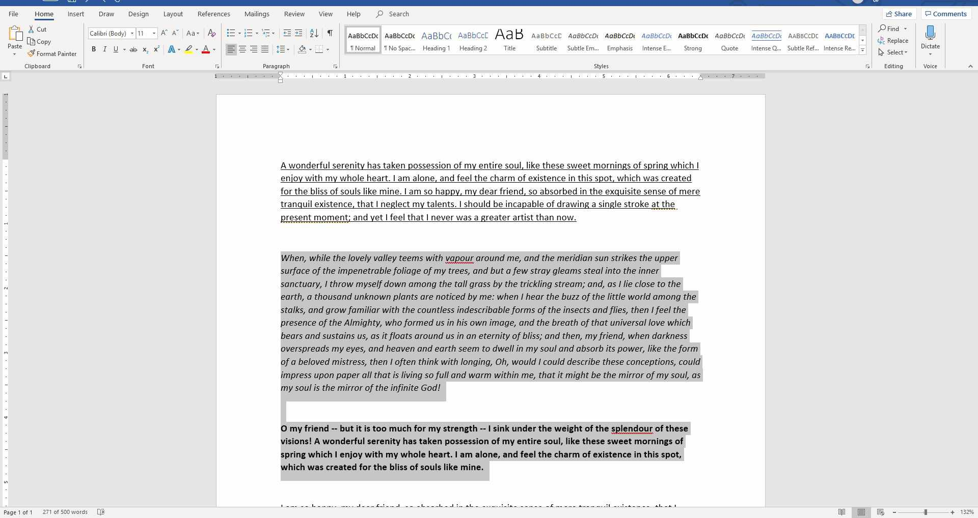Screenshot of selected text in a Word document