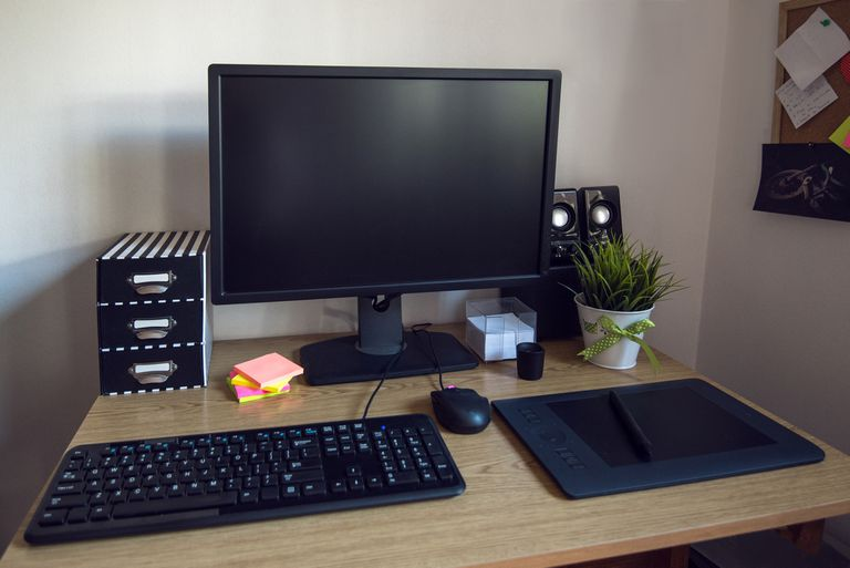 PC computer monitor and keyboard