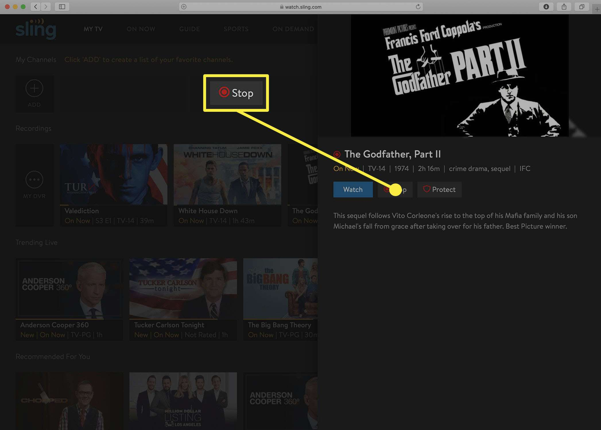 Screenshot of the Sling TV button to stop a DVR recording.