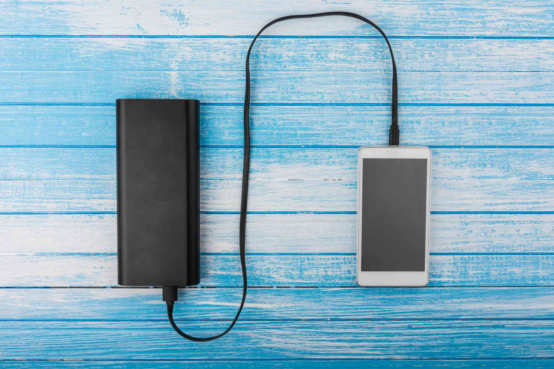 Mobile phone charging on portable power supply.