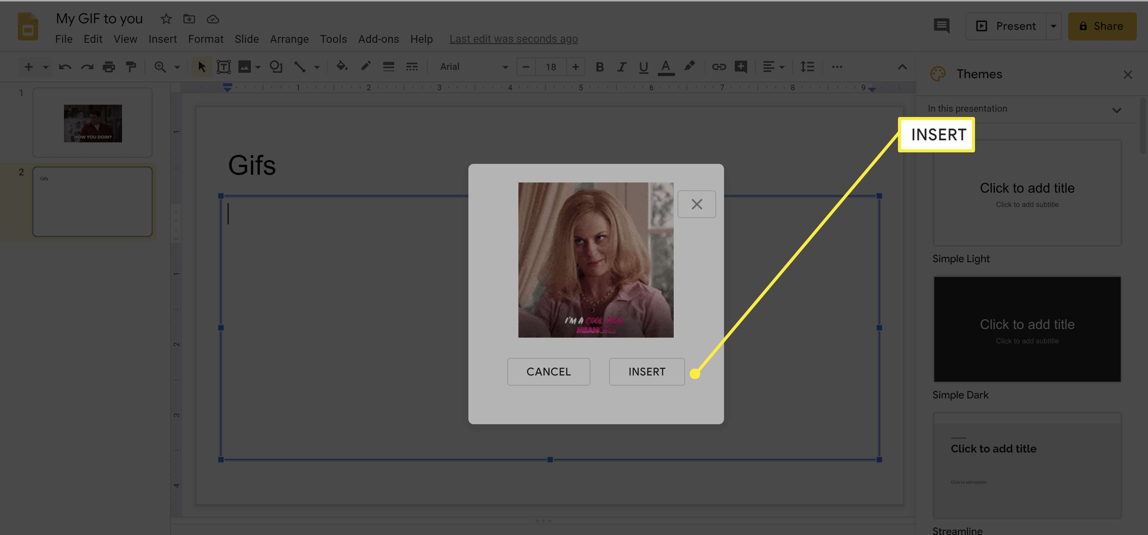 Adding a GIF to Google Slides.