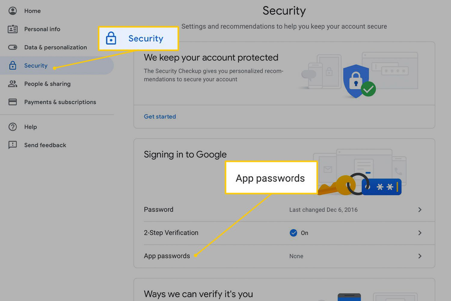 Security tab and App passwords link on Google Account Security page