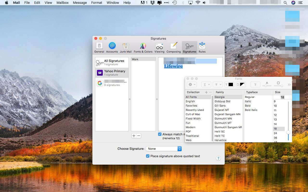 Fonts window in Apple Mail