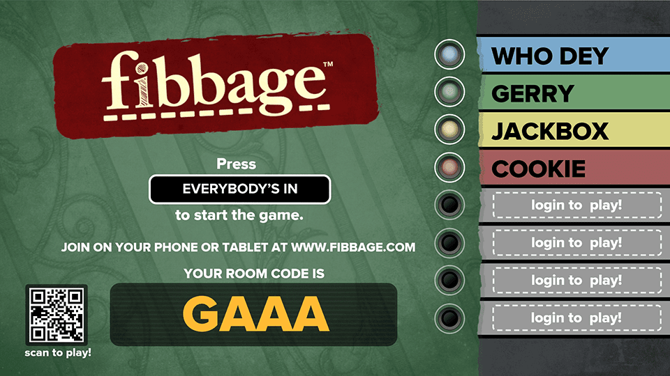 Start screen of the Apple Tv game Fibbage