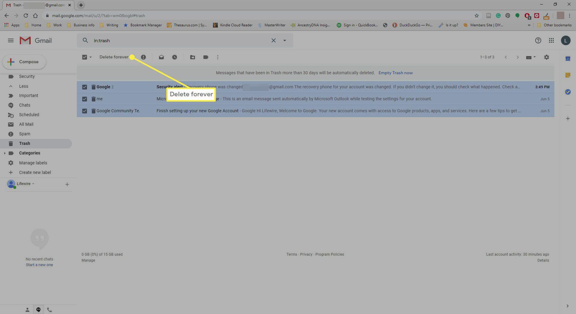 Selecting Delete Forever in Gmail Trash Folder.