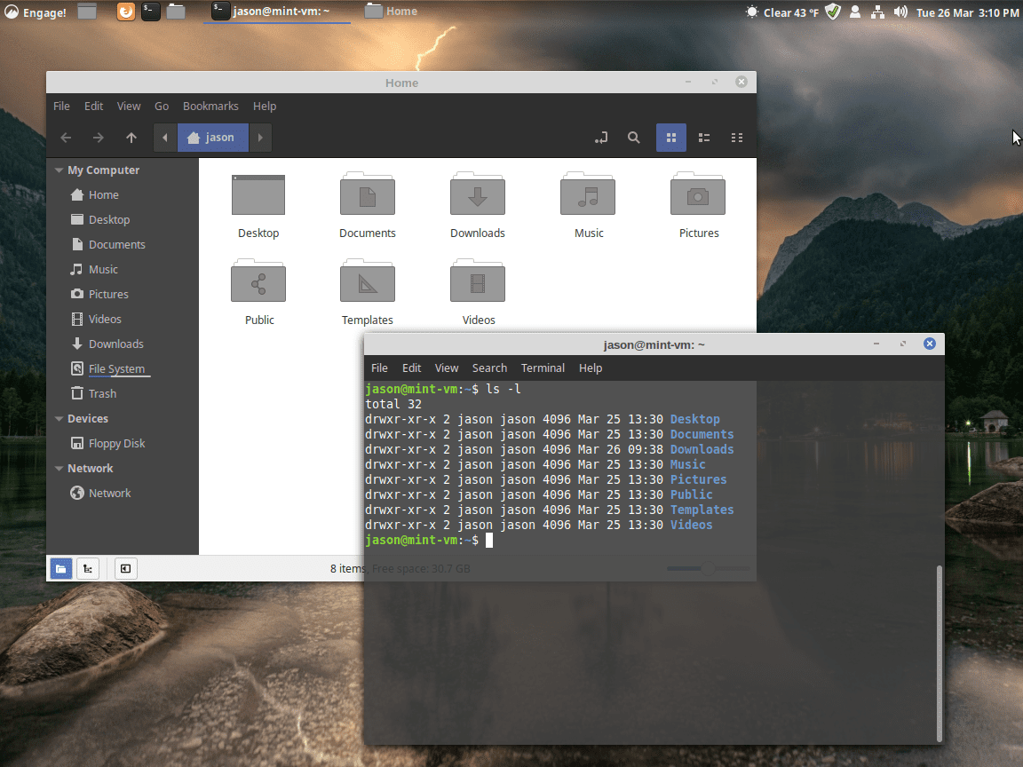 The Linux desktop with two different directory listings.