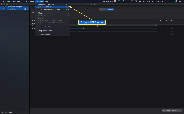 The Show MIDI Setup command