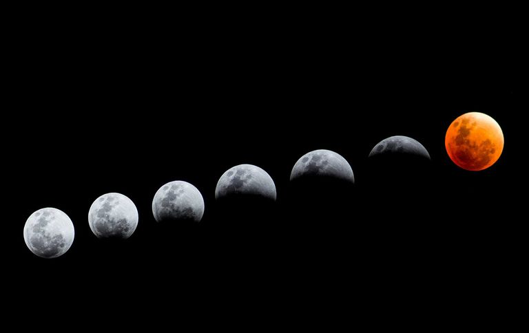Low Angle View Of Lunar Eclipse