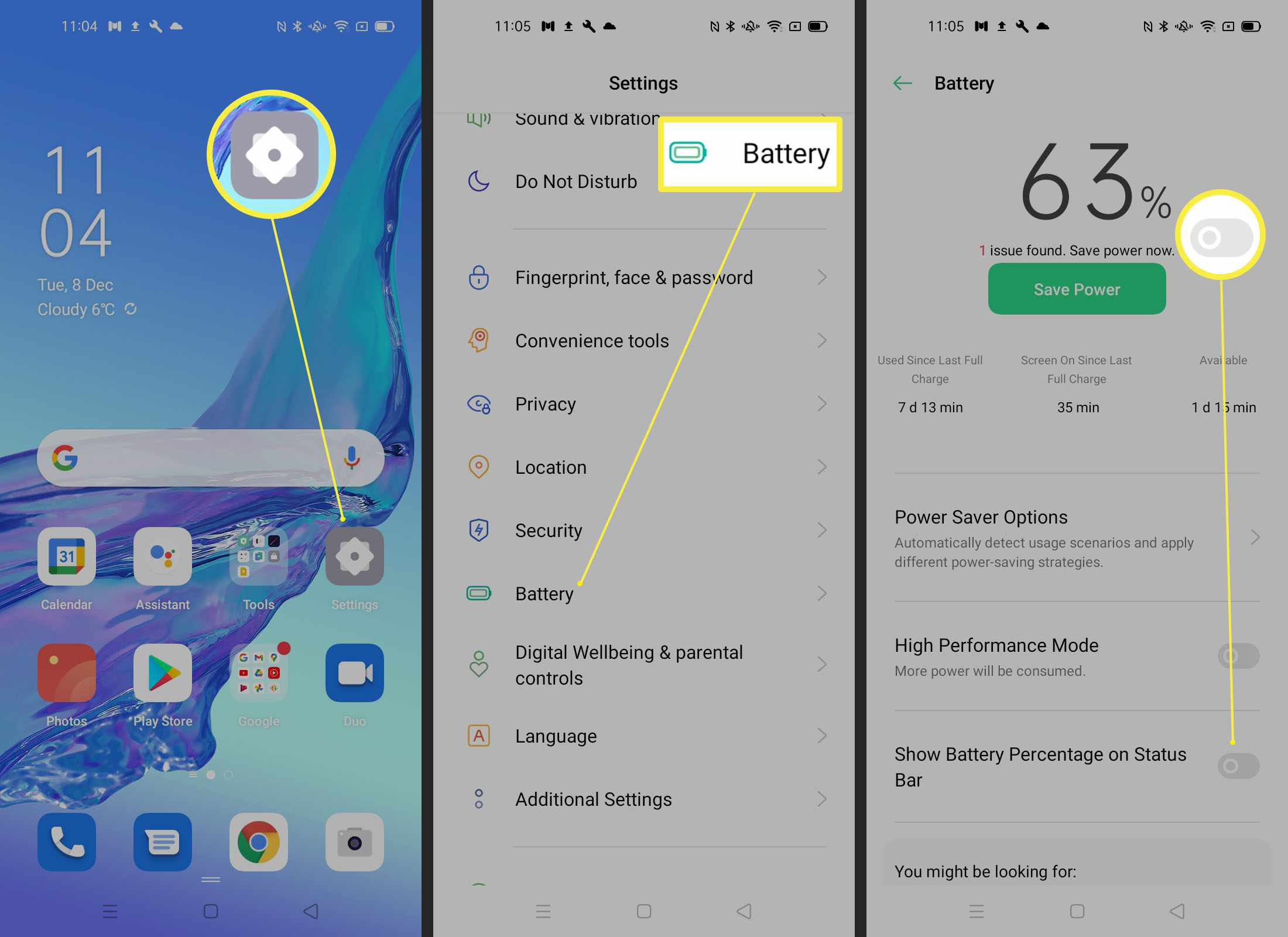 Steps required to show battery percentage on stock Android