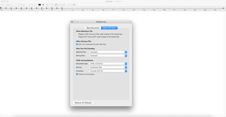 Screenshot of the TextEdit preferences on a Mac
