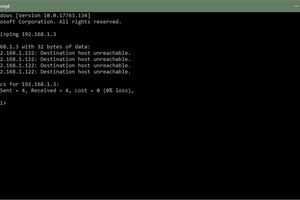 Command Prompt in Windows showing IP address 192.168.1.3