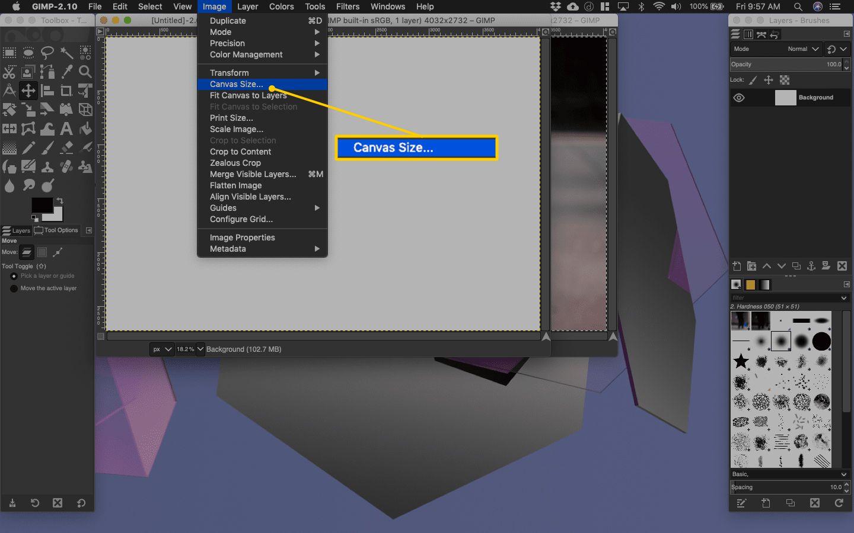 File > Canvas Size menu item in Gimp for macOS