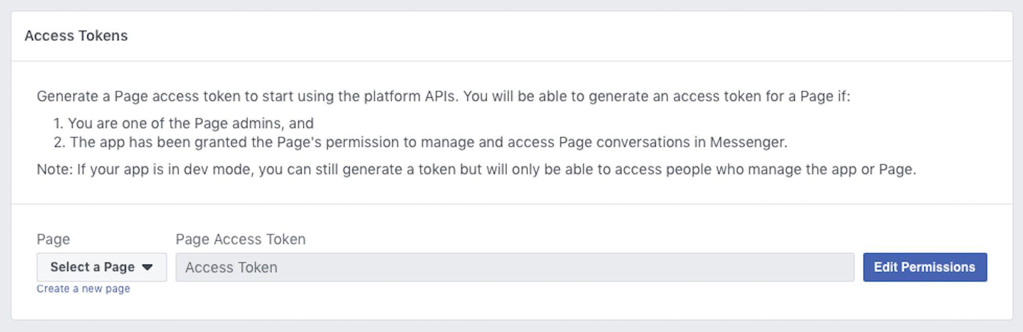 Creating an API access token in the Facebook developers portal