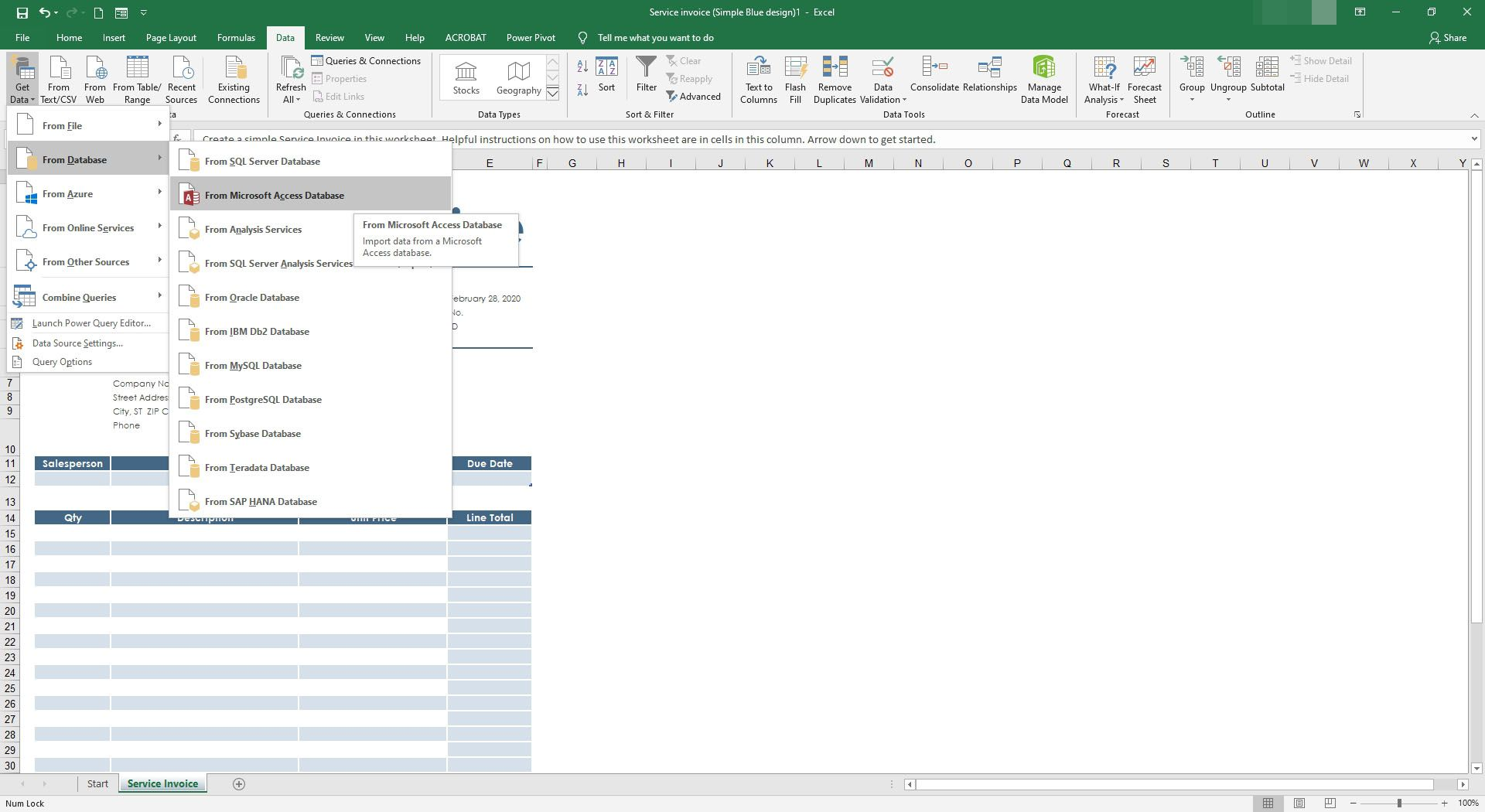 Selecting to get data from a MS Access database.