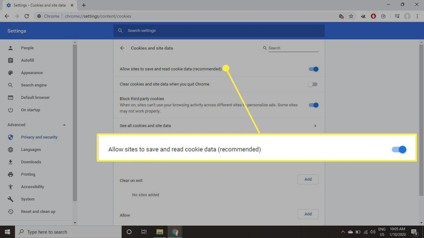 The Allow sites to save and read cookie data option