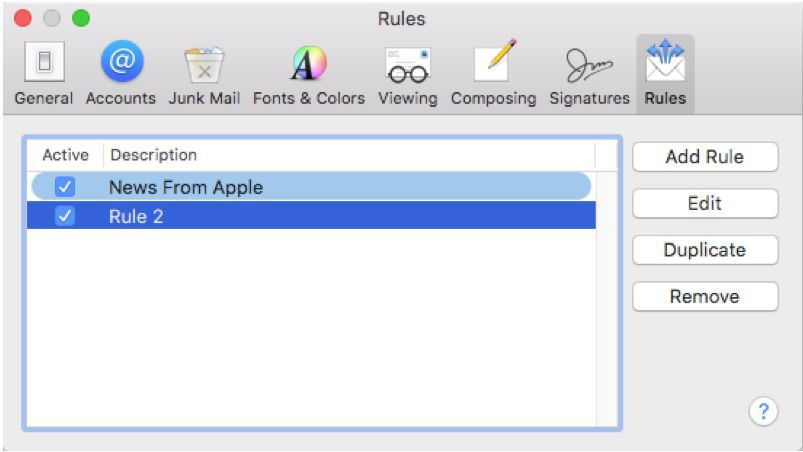 Screenshot of highlighting rules set in Apple Mail