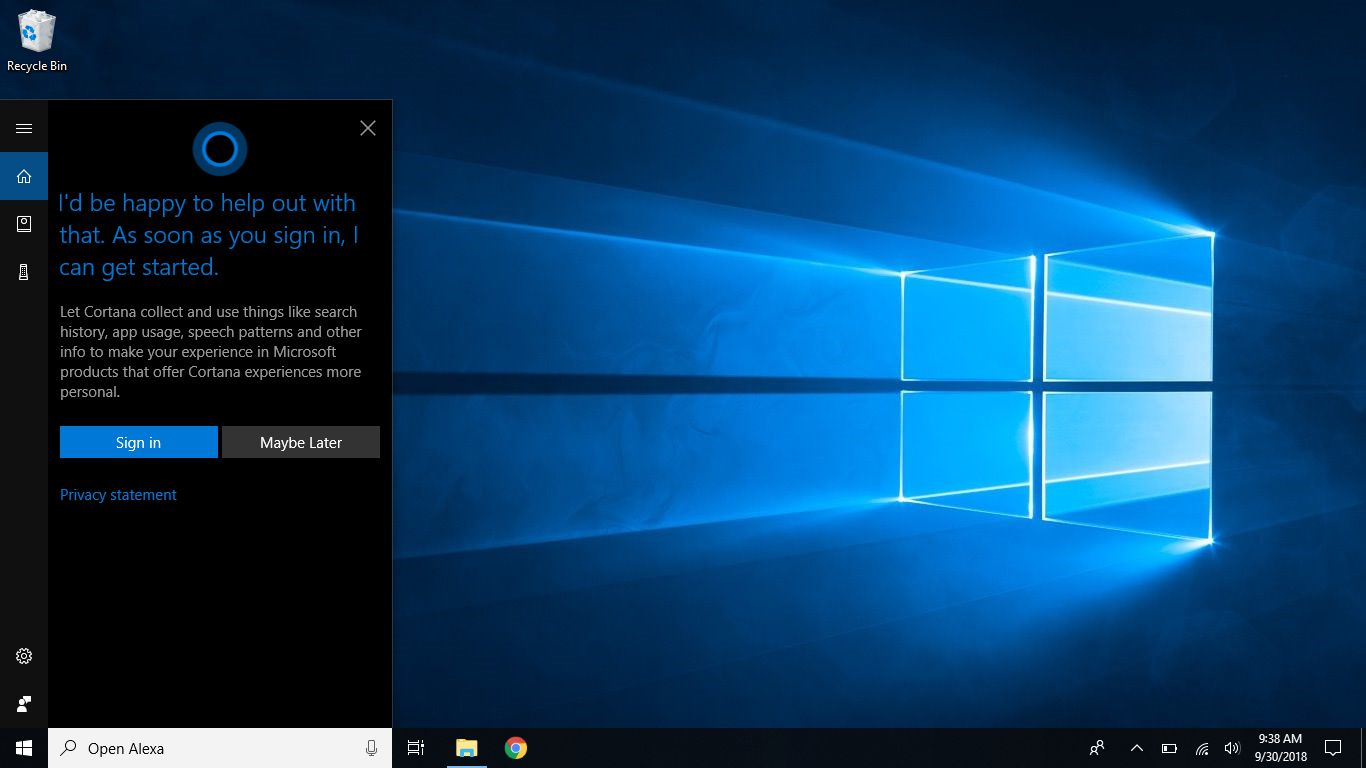 Windows screenshot that shows initial Cortana sign in screen
