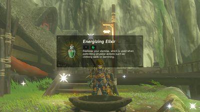A screenshot of making an elixir in Legend of Zelda: Breath of the Wild